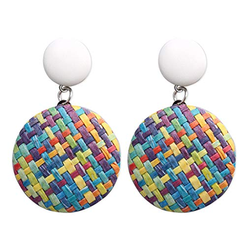 FIged Bohemian Style Wood Bamboo Rattan Geometric Round Earrings Ladies Jewelry