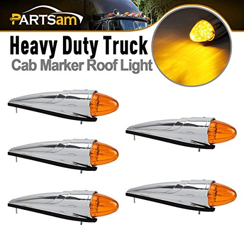 Partsam 5PCS 17 LED Amber Torpedo Cab Marker Clearance Roof Running Top Lights Assembly Super Bright Chrome Heavy Duty Trucks Replacement for Kenworth Peterbilt Freightliner Mack Volvo International
