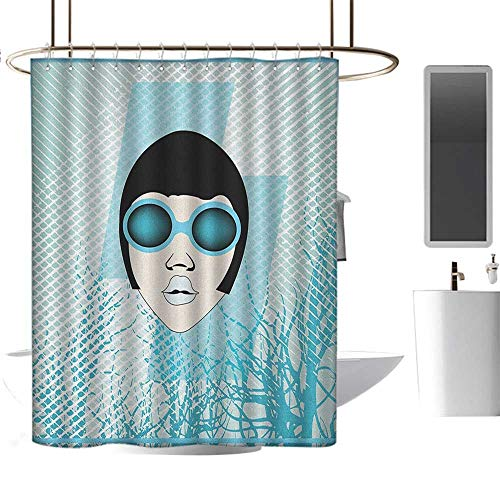 Striped Shower curtain36 x72 Indie,Retro Woman Portrait with Vintage Sunglasses Short Hair Abstract Trees Pale Blue Black White,Curtain Anti Mould for Bathroom & Toilet ()