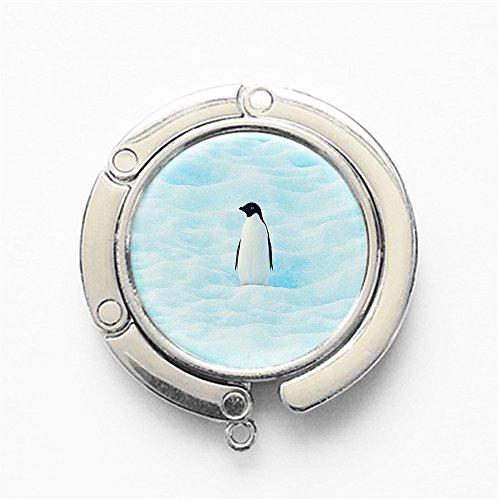 RhyNSky Animal Penguin Round Folding Handbag Hook Purse Hanger Holder for Table, Silvery, FS219