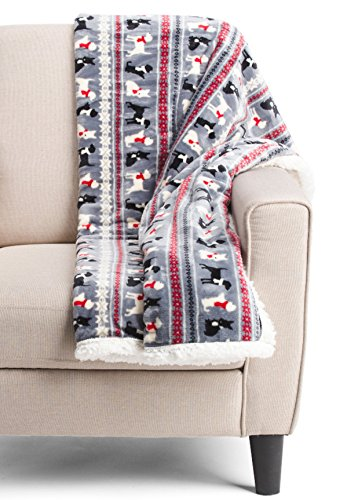 Dogs Throw Blanket Dashchund Plush Sherpa By The Humane Society Holiday Decorative Animal Bedding Gray Red 50 X 60