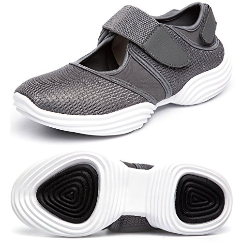 SILISITE Women's Walking Shoes Elastic Adjustable Lightweight Breathable Athletic Outdoor Shoes Size 8 B(M) US Dark Grey