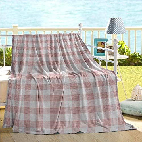 maisi Checkered Flannel Throw Blankets Picnic in Countryside Themed Gingham Pattern in Light Colors Print Print Summer Pink Light Pink White