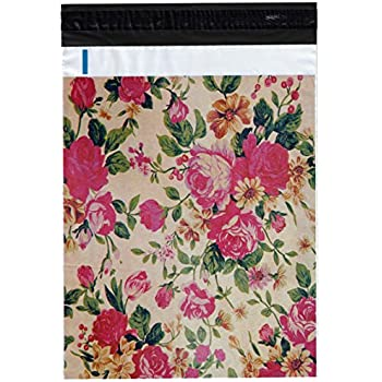 "100 10x13 Pink Roses Poly Mailers Shipping Envelopes Bags 10"" x 13"" By ValueMailers"