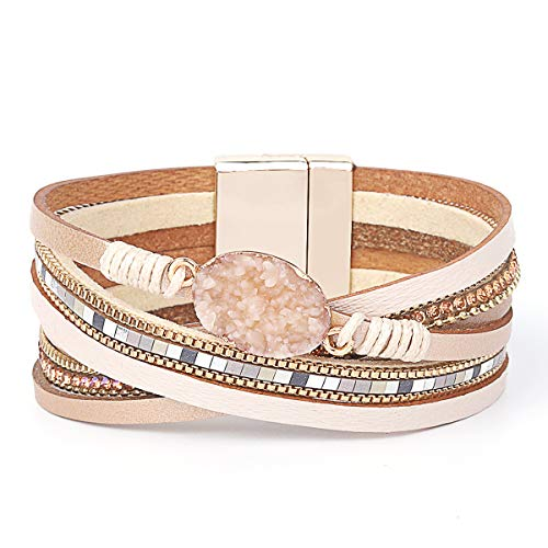 Womens Leather Cuff Bracelet - Braided Wrap Bangle Handmade Multi Layer Jewelry - with Alloy Magnetic Clasp - Bohemian Gift for Women, Mother,Girls ((Natural Stone)-Beige) ()