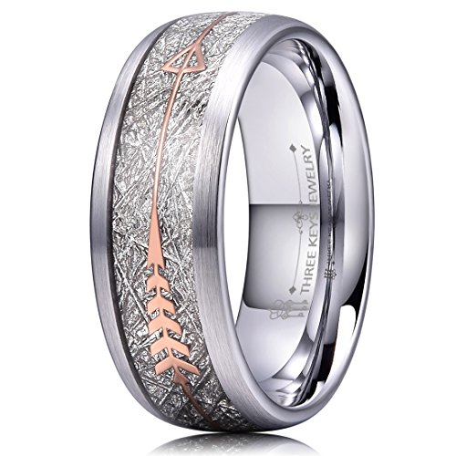 Three Keys 8mm White Tungsten Wedding Ring for Men Domed Imitated Meteorite Rose Gold Arrows Inlay Mens Meteorite Wedding Band Engagement Ring Promise Ring Size 7 ()