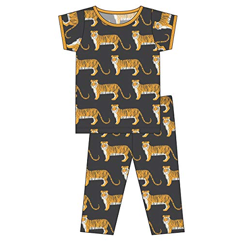 Kickee Pants Little Boys Custom Print Short Sleeve Pajama Set - Zebra Tiger, 3T