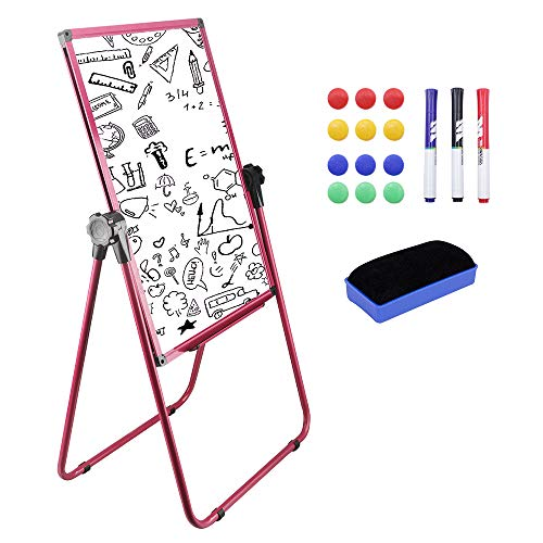 Magnetic Easel Dry Erase Board Portable U-Stand Whiteboard Height Adjustable Rotating Foldable 20x28 Inches Include 1 Eraser,3 Markers,12 Magnets(Pink) (Unframed Vinyl)
