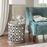 Drum Shaped Bedside Tables Silver Lattice Drum End Table for Living Room Round Shaped Cut Out Design, Quatrefoil Metal