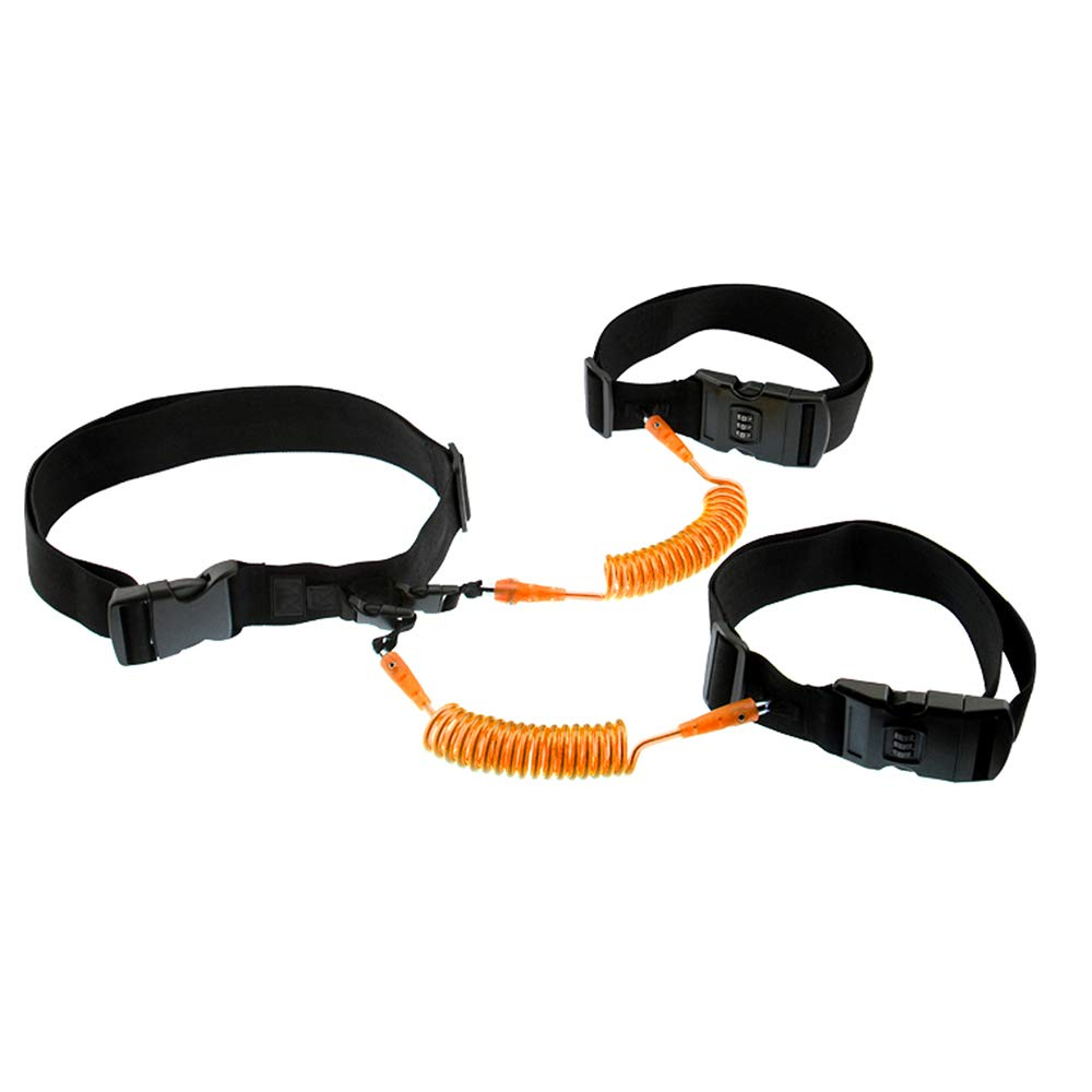 Relubby Baby Walking Harness Leash,Waist Strap Traction Rope for Two Children,1.5M(5FT),Orange