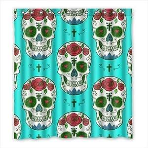 Custom Sugar Skull Shower Curtain Polyester 167cm x 183cm