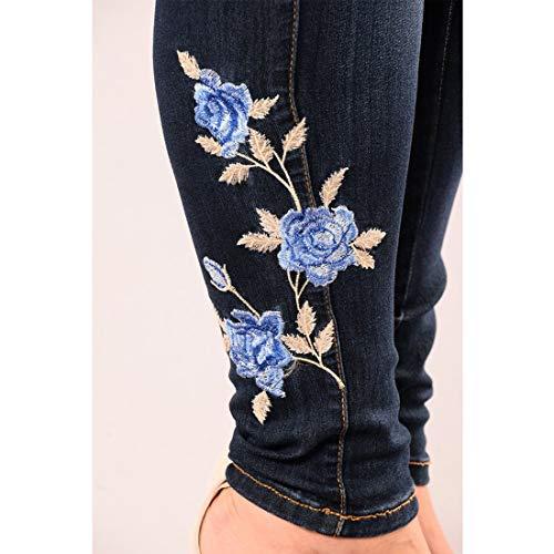 Black1 Ricamata Con Rosa Blue Gamba color Skinny Mallty Alta Jeans Size S A Pantaloni Vita BTwPgp