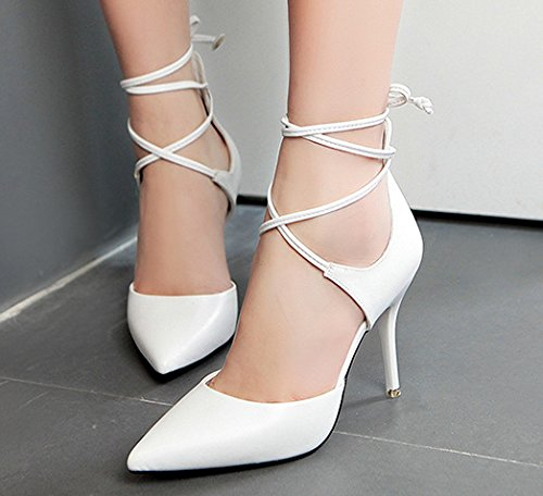 Tacones Toe Court Zapatos Sandals altos white Shoes Anillo pie Pumps GLTER Mujeres de Pointed Catwalk Charming Nightclub qw4w1TInU