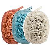 Amariver 3 Pack Bath Loofah Body Sponge Brushes Pouf Bath Mesh Brush Bath Shower Glove with flower Bath Ball