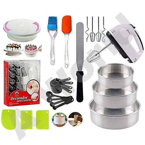 A-ONE Cake Making Supplies Cake Turntable, Nozzle Set, Measuring Cup & Spoon, Scraper, 3 in 1 Aluminium Round Cake Moulds, Stainless Steel Pallet Knife and 7 Speed Hand Mixer.