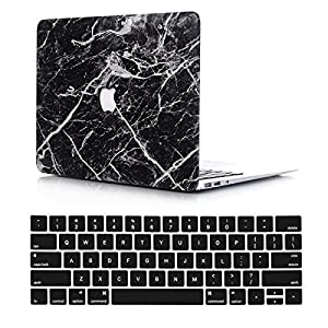 VTOSEN Macbook Pro 13 Inch Case 2017 & 2016 Release A1706/A1708, Plastic Marble Pattern PC Hard Shell Cover with Keyboard Cover for New Macbook Pro 13 with & w/out Touch Bar - Black Marble