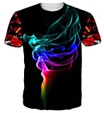 NEWISTAR UNIFACO Teen Boys 3D Pattern Printed Smoke Short Sleeve T-Shirts Top Tees Black XL