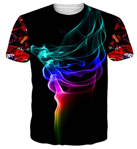 NEWISTAR UNIFACO Teen Boys 3D Pattern Printed Smoke Short Sleeve T-Shirts Top Tees Black XL (Little Boy Shirt Labels)