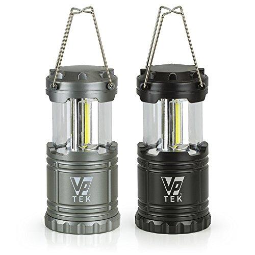 Silver Led Metallic (VP TEK Collapsible LED Lantern with Ultra Bright 300 Lumens COB Technology (2 Pack) (Black & Metallic Silver))