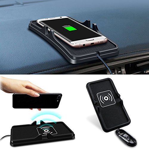 Price comparison product image Allstrying Wireless Car Charger, Car Dashboard Phone Holder Pad Holder Silicone Pad Anti Slip Mat Wireless Charger for iPhone X,iPhone 8/Plus Samsung Galaxy S8/S8+, S7/S7 Edge ,LG Nexus4/5/6,Nokia