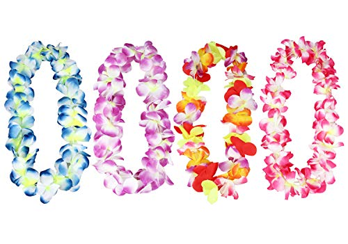 CIEHER Hawaiian Leis Hula Dance Garland Artificial Flowers Neck Loop Giant Hawaiian Ruffled Simulated Colorful Luau Silk Flower Leis Jumbo Necklaces 4 Pieces per Set -