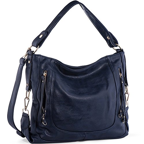 UTAKE Women's Shoulder Bags PU Leather Hobo Handbags Top-Handle Purse For Ladies (Blue) by UTAKE