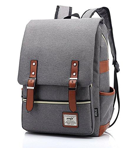 69e2ac8614af Furivy Unisex Oxford Retro Style Laptop Backpack College School Bag Student  Daypack Rucksack Light Gray