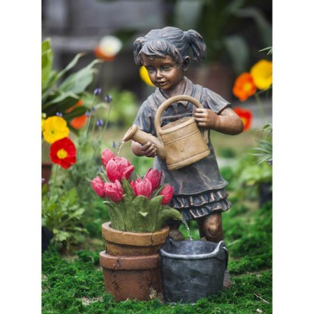 Girl Watering Flower Fountain by Mainstay