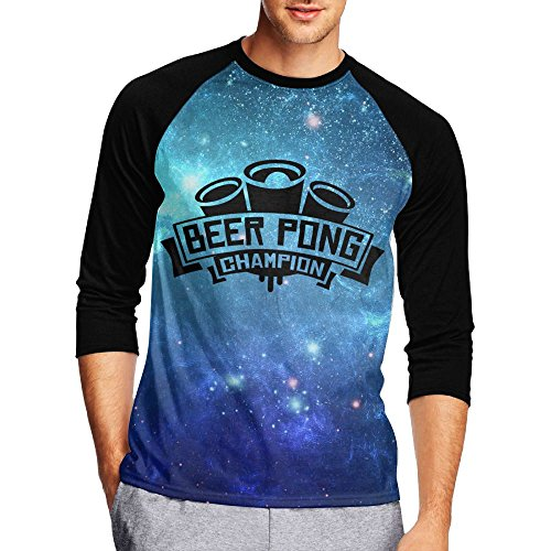 Champ 3/4 Sleeve Raglan Shirt - Gooesld Beer Pong Champ Men's Crew Neck Raglan 3/4 Sleeve Baseball Tee Shirt