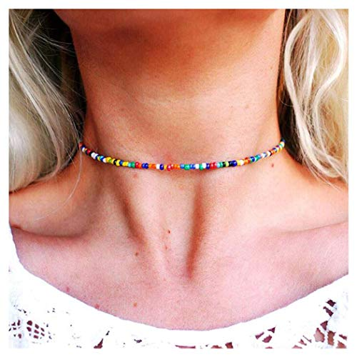 Tgirls Boho Colorful Choker Necklace Chain Rainbow Seed Bead Necklaces Jewelry for Women and Girls