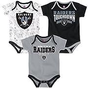 NFL by Outerstuff NFL Newborn Playmaker 3 Piece Onesie Set-Black-3 Months, Oakland Raiders