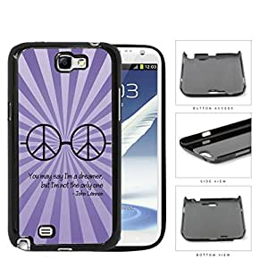 Dreamer John Lennon Quote with Peace Hippie Sunglasses (Purple Swirls) Samsung Galaxy Note II 2 N7100 Hard Snap on Plastic Cell Phone Cover