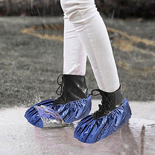 Hunpta Wiederverwendbare Unisex Regen Überschuhe Wasserdichte Anti Rutsch Schuhabdeckungen Stiefel Blau