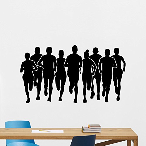 Marathon Wall Decal Running Runners People Sportsmen Run Sprint Gym Fitness Workout Sport Poster Vinyl Sticker Kids Teen Boy Room Nursery Bedroom Wall Art Decor Mural 95nnn