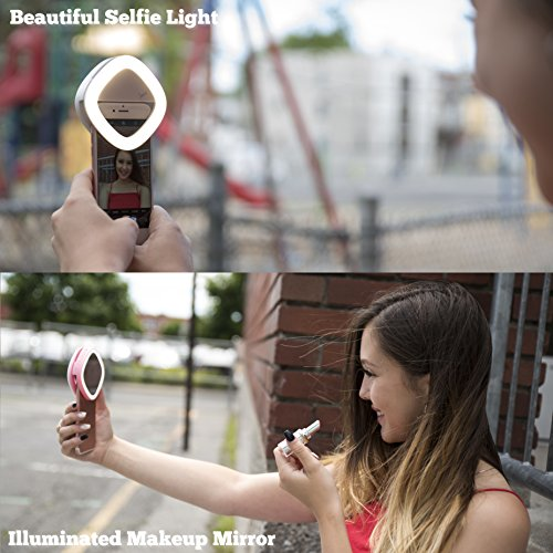 Selfie Ring Light for Camera with Rear Dimmable, Illuminated, Makeup Mirror. 53 LED, Rechargeable, 3 Light Colors, 3 Light Intensity. For iPhone, iPad, Samsung Galaxy, Android Phones, Laptops. Blue by Louxxi (Image #5)