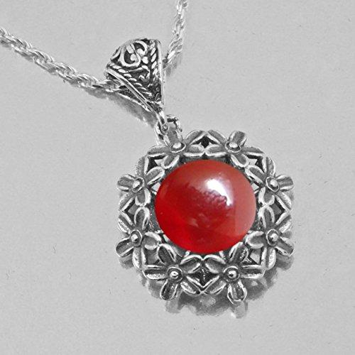 Necklace Carnelian Gemstone Sterling Silver 925 Genuine Handmade Gift Vintage Style ()