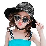 PT FASHIONS Summer Wide Brim Foldable Sun Hat Beach UPF 50+ Visor Cap Women Kids-Kblack