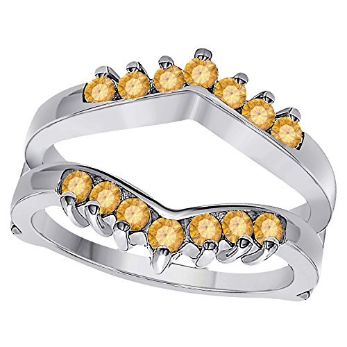 Silver Gems Factory 1/2 Ct Double Wedding Band Ring Enhancer Guard with Yellow Citrine 14k White Gold Plated