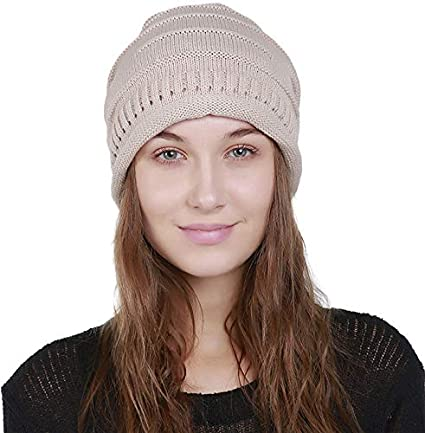 cfa00a5688d Women Men Hat Knit Beanie Unisex Winter Chunky Thick Stretchy Slouchy Wool Skull  Cap (Beige