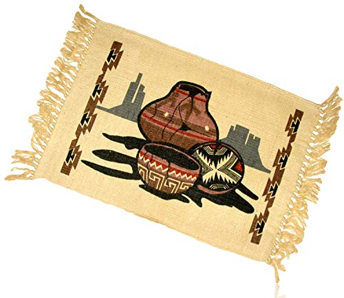 American Pottery Native Southwestern (mySimpleProduct.Shop Tan, Brown, Red Rectangle Aztec Native American Southwestern Indian Ancient Art Pottery Desert Cliff Fringed Blanket Table Placemats Made of 100% Cotton [Set of 6] + Certificate)