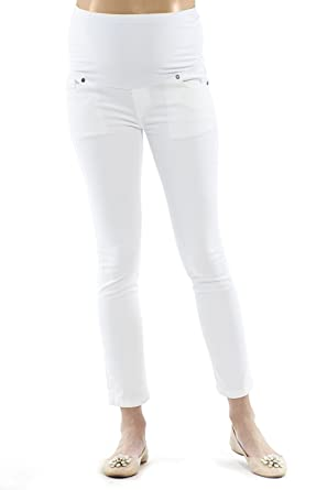 35cb171df97f8 motherway Maternity Trousers White Pregnancy Pants Jeans Elastic Pocket  Basic Casual Business (XS)