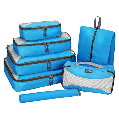 G4Free 7 Set Packing Cubes Travel Luggage Organizers with Shoes Bag Laundry Bag Extra Large(Blue)