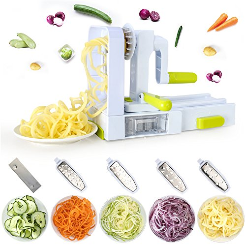 une Sky Vegetable Spiral Slicer,Veggie Pasta Spaghetti Maker and Mandoline Slicer for Low Carb/Paleo/Gluten ()