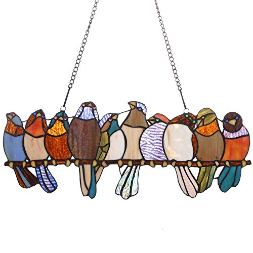 es Tropical Birds Tiffany Style Stained Glass Window Panel with Hanging Chain (10 Birds) ()