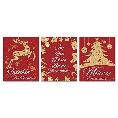 SUMGAR Set of 3 Christmas Gala Art Prints Red and Gold Reindeer Rudolph Ornaments Decorations Unframed Posters,8x10 inch