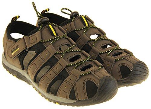 Gola Sandalias para Hombre Marrón Oscuro, Negro y Amarillo