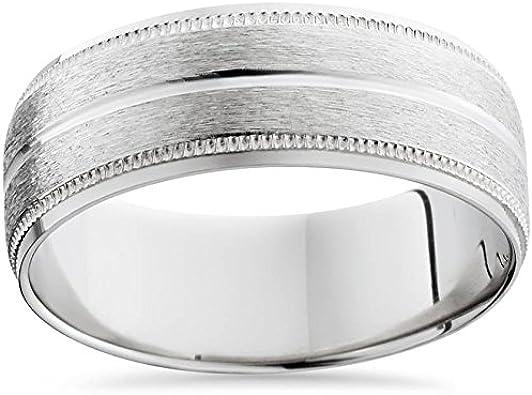 Men S 8mm Platinum Satin Wedding Band Bands Mens Rings Amazon Com