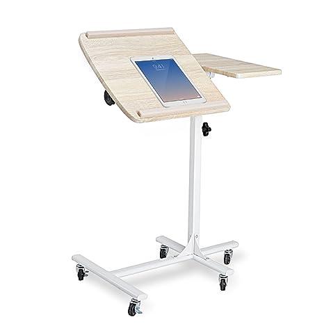 coavas Mesa Escritorio Auxiliar para Ordenador Portátil Tablet con Ruedas Altura y Ángulo de Lectura Regulable