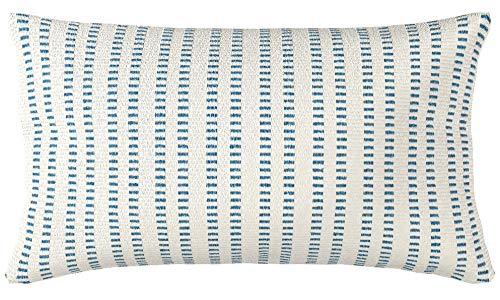 Stone & Beam French Laundry Stripe Pillow, 12'' x 24'', Ivory, Turquoise by Stone & Beam (Image #7)