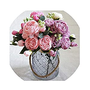 Colorful Rose Peony Artificial Silks Small Bouquet Flores Home Party Wedding Decoration 36